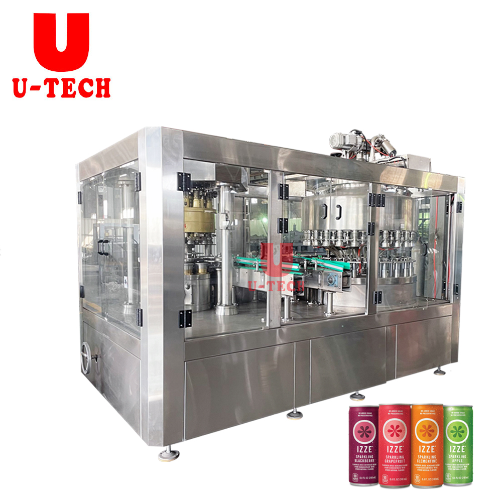 Automatic Orange Apple Mango Juice Can Filling Selaing Machine Line